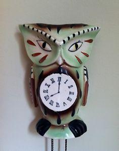 Japanese ceramic owl cuckoo clock