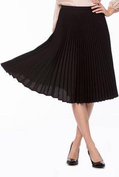 Fusta neagra plisata SERENA-N -  Ama Fashion