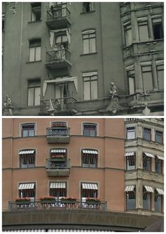 Now & Then. The Grand Hotel in Stockholm city. In this photo you see Douglas Fairbanks and Mary Pickford on the balcony in 1924. Many of our favorite silent movie stars have stayed at the Grand, including Laurel and Hardy, Harold Lloyd, Charlie Chaplin, Greta Garbo.