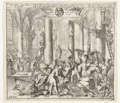 Utrechtse Dom van alle protestantse objecten ontdaan en opnieuw ingezegend als een katholieke kerk, 1672, Johannes Jacobsz van den Aveele, 1674