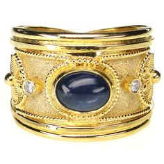 Damaskos Sapphire and Diamond Ring. 18k Gold, Diamonds and Sapphire. Greek jewelry at www.athenas-treasures.com