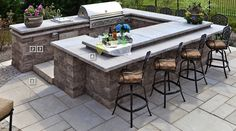 custom techo bloc outdoor kitchen