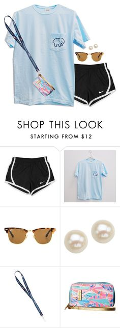 """""""Ootd"""" by aweaver-2 on Polyvore featuring NIKE, Ray-Ban, Honora and Lilly Pulitzer"""