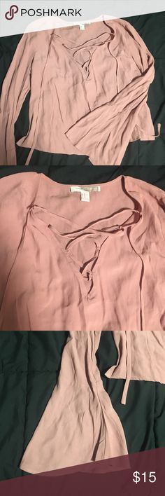 Bell sleeve, laced up long sleeve blouse NWOT Dusty rose - tags ripped off but never worn! NWOT Forever 21 Tops Blouses
