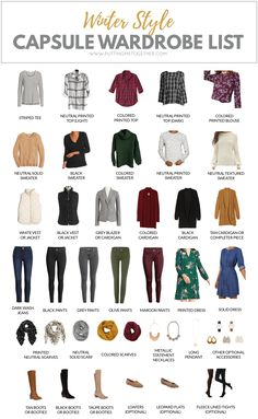 In need of some winter outfit inspiration? Maybe this winter capsule wardrobe will help you out! It's the capsule wardrobe we're using for the PMT Winter Challenge where I'll help you turn this into 48 outfits! Fall Capsule Wardrobe, Capsule Outfits, Fashion Capsule, Wardrobe Basics, Mode Outfits, Capsule Wardrobe How To Build A, Winter Wardrobe Essentials, Staple Wardrobe Pieces, Wardrobe Staples