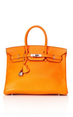 Heritage Timeless Collection: 35cm Orange H Clemence Leather Birkin