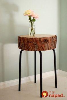 DIY Log table from log slice and ikea stool base. Log Table, Tree Stump Table, Rustic Table, Rustic Wood, Tree Stump Decor, Rustic Decor, Banco Ikea, Hacks Ikea, Diy Hacks