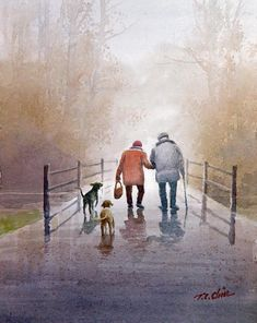Couple Painting, Couple Art, Love Painting, Painting Trees, Born In China, Old Couples, Park Art, Shih Tzu Dog, Dog Paintings