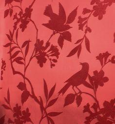 Birds in Trees Velvet Flocked Wallpaper in Rose from the Plush Collection by Burke Decor