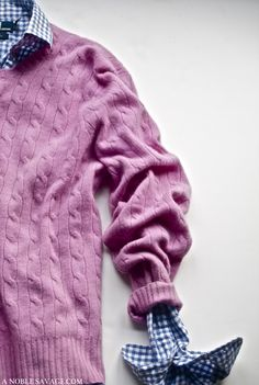 Lilac Cashmere Sweater over a Navy + White Gingham shirt...