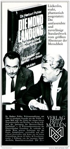 Original-Werbung/ Anzeige 1969 - DIE MONDLANDUNG / WERNHER VON BRAUN / VERLAG FRITZ MOLDEN - ca. 110 x 240 mm