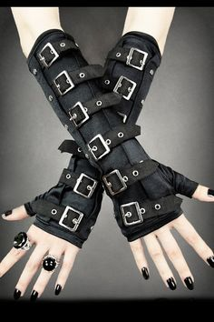 Long Arm Warmer Gothic Gloves with Buckles