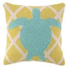 "Wool throw pillow with a sea turtle motif against a chartreuse diamond background.   Product: PillowConstruction Material: 100% WoolColor: Chartreuse and blueFeatures:  Hand-hookedInsert included Dimensions: 18"" x 18""Cleaning and Care: Spot clean"