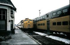 cnw commuter trains at lake geneva wisconsin april