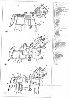 Horse Armour, for war or tournament, from an Italian book. Medieval Horse, Medieval Weapons, Medieval Knight, Medieval Fantasy, Horse Armor, Arm Armor, Medieval Drawings, Horse Costumes, Armadura Medieval