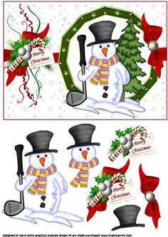 Christmas golf snowman  on Craftsuprint - Add To Basket!