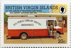 British Virgin Islands Public Library Service bookmobile on a 1993 stamp.