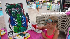Swim a Little Paint A Little Pool Side Painting at SVR  #Newway2play Sheraton Vistana Resort Paint with us Poolside