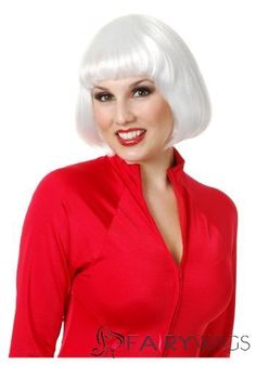 10 Inch Capless Straight White Synthetic Hair Costume Wigs