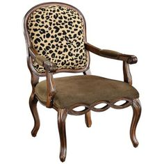 Lucero Leopard Print Jacobean Brown Accent Chair