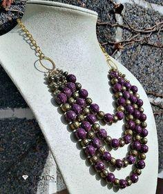 Purple and gold statement necklace-bib necklace-Purple and gold mutli stranded necklace- Purple necklaces- gold necklaces- multi stranded