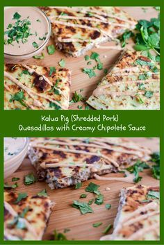 Kalua Pig (Shredded Kalua Pig (Shredded Pork) Quesadillas with Creamy Chipolete Sauce. This is part of my two day menu plan where I use only one meat source to make 2 meals! Recipe : http://ift.tt/1hGiZgA And @ItsNutella  http://ift.tt/2v8iUYW