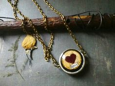 Paper Jewelry - Dried Rose Necklace - Heart Pendant