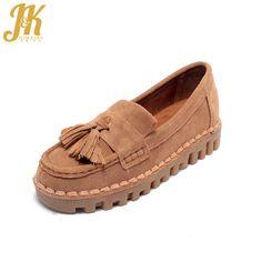 J&K 2017 Genuine Leather Upper Pigskin Lining Women's Vulcanize Shoes Platform Soft Sole Pregnant Women's Shoes Fringe Flat Shoe