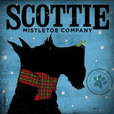 Scottie mistletoe company  illustration graphic art on canvas 12 x 12 by stephen fowler. $79.00, via Etsy.