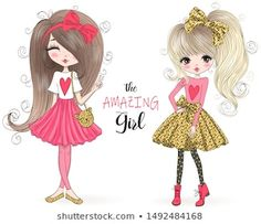 Vector de stock (libre de regalías) sobre Two Hand Drawn Beautiful Cute Little1022899375 Little Girl Drawing, Cartoon Girl Drawing, Girl Cartoon, Cartoon Drawings, Cute Cartoon, Girl Clipart, Cute Clipart, Girly Drawings, Doodle Drawings