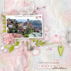love, amour, pink, women, girly, digital scrap, template, scrapbooking, travel,