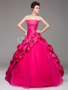 Princess Silhouette Fuchsia Taffeta Embroidered Strapless Prom Dress - Milanoo.com