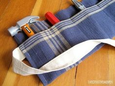 Placemat turned little boys toolbelt.