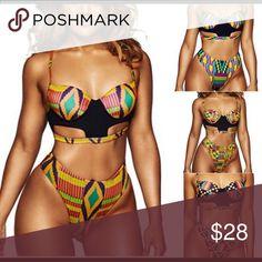 Swimsuit African high waits two pieces bath suit bikini set Swim One Pieces