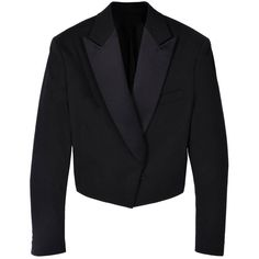 Black Fearless Satin Peak Lapel Tuxedo Jacket by Acne (114.080 CLP) ❤ liked on Polyvore featuring outerwear, jackets, blazers, blazer, casacos, women's tops, womenswear, cropped tuxedo blazer, acne studios jacket and cropped blazer