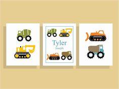 Construction Nursery Decor, Truck Wall Art, Boys Nursery Wall Art, Set of Three, Personalized Wall Art. $32.00, via Etsy.
