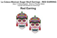 La Calaca Mexican Sugar Skull Earrings - Red Earring | Bead-Patterns