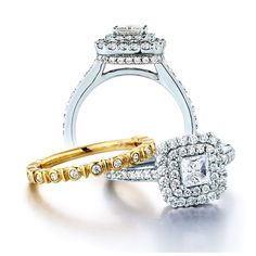 Diamond wedding set in white and yellow gold by Ze.