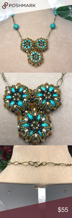 Beaded Necklace Set Handcrafted with turquoise Howlite/Crystals/Seed beads Bijoux157 Jewelry Necklaces