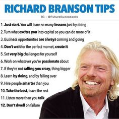 Richard Branson, top 12 tips for success. Business Motivation, Business Quotes, Business Tips, Business Planning, Citations Business, Inspirational Speeches, How To Get Motivated, Growth Quotes, Robert Kiyosaki