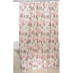 This fun novelty shower curtain adds girlish charm and flare to your bathroom decor. This curtain is constructed of polyester. More Details Novelty Shower Curtains, Gray Shower Curtains, Little Girl Bathrooms, Paris Bathroom, Pink Paris, Paris Theme, Gorgeous Fabrics, House Styles, Flare