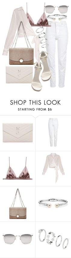 """""""Untitled #21367"""" by florencia95 ❤ liked on Polyvore featuring Yves Saint Laurent, Topshop, Stuart Weitzman, Fleur du Mal, Marc Jacobs, Blue Nile, Linda Farrow and H&M"""