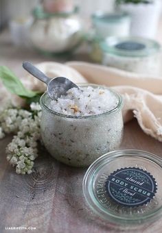 This homemade body scrub is natural and chemical-free with the added benefits for almond oil. The fragrant scrub is perfect for gifts for Mother's Day, bridal or baby showers or birthdays.