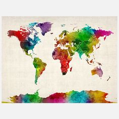 Watercolor World Map IInow featured on Fab