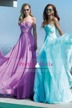 2015 Brilliant A-Line sweetheart pleated Bodice Prom Dresses With long chiffon skirt Sweep Train