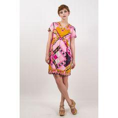 Vintage 1960s pink geometric print mini Pucci-esque dress XS by CarlaAndCarla on Etsy