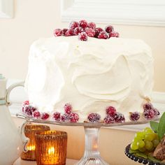 Cranberry-Vanilla Cake with Whipped Cream Frosting   #christmas #holiday #recipes #desserts