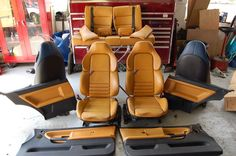 Two Ultra Rare E36 Interior's complete Vader's Modena - Light Tan - bmw interior orange beige camel seats door panels