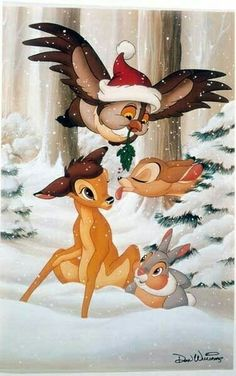 A nice rendering from Bambi signed by Don Williams, Head Illustrator for Disney. Merry Christmas, Bambi and friends! Disney Pixar, World Disney, Film Disney, Art Disney, Disney And Dreamworks, Disney Cartoons, Disney Love, Disney Magic, Disney Animation
