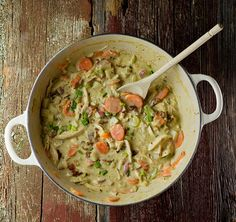 Creamy Chicken Stew - made this tonight with leftovers from last night's roasted chicken. A winner - so, so good!